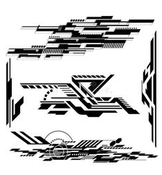 Illustration about Various Technological futurisitic contemporary shapes. Illustration of graphic, dynamic, pattern - 49002628 Geometric Designs, Geometric Art, Circuit Tattoo, Cyberpunk Tattoo, Desenho Tattoo, Artwork Design, Grafik Design, Sticker Design, Logos