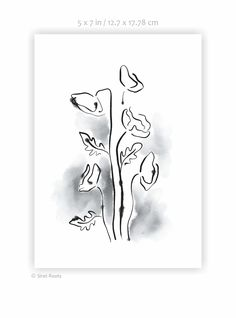 Art print. Black and white poppies painting. Wet, running ink sketch of flowers. Subtle floral print for gallery wall. A3, 11x14, etc. Poppies Painting, Flower Sketches, Floral Prints, Art Prints, A3, Gallery Wall, Running, Black And White, Wall Art