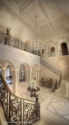 Marble - simple, Crown molding, Box, Traditional, Columns, Wallpaper, Balcony, Chandelier