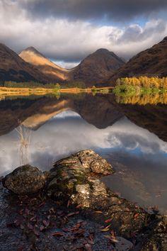 Glen Etive. Lochan nam Urr. Autumn Light. Western Highlands. Scotland.