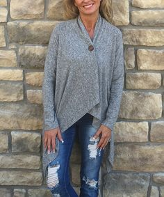 Look at this Gray Single-Button Cardigan on #zulily today!