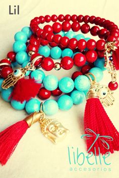 I have got to put these colors together! Rojos y turquesas