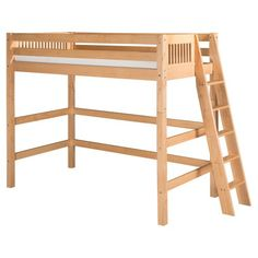 Camaflexi Mission Headboard High Loft Bed with Lateral Ladder - Bunk Beds & Loft Beds at Hayneedle