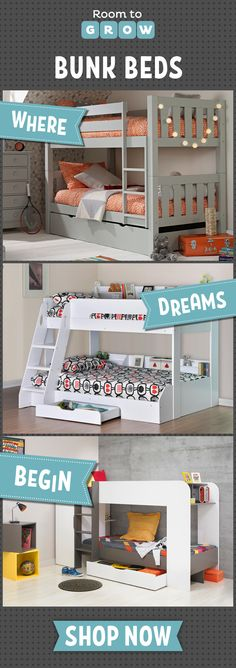 Bunk beds from Room To Grow. Perfect for sleepovers, shared rooms and even for saving space!