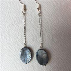 Grey minimal Mother Pearls earrings