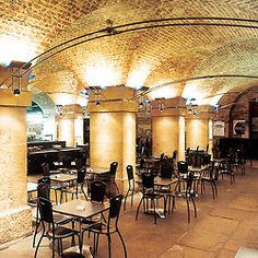 The Crypt, London--located underneath St. Martin-in-the-Fields; the floor is made of tombstones and the food is pure English Victorian fare.