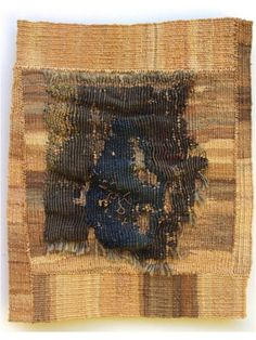 "Cultured Landscapes « American Tapestry Alliance, curated by Lany Eila. Dorothy Clews,  ""The Space Between"" 2011 13 x 15cm tapestry weave, stitch, seine twine, raffia, antique tapestry fragment"