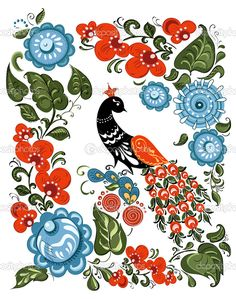 depositphotos_30276783-stock-illustration-illustration-with-flowers-and-bird.jpg (806×1023)
