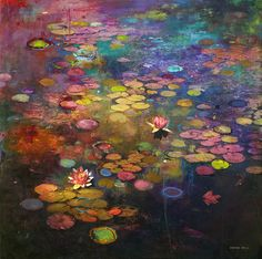 The fascinating landscapes of the artist Stev'nn Hall, who mixes painting and photography into poetic and colorful creations, reminding the paintings of the Impressionist Landscape, Landscape Art, Landscape Paintings, Landscapes, Lotus Painting, Painting & Drawing, Hall Painting, Illustration, Fine Art