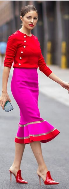 Who made Olivia Culpo's red button sweater and pink mesh skirt?