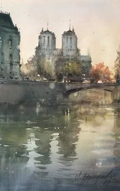 `Notre Dame` by Djukaric Dusan Watercolor City, Watercolor Artists, Watercolor Techniques, Watercolor Landscape, Watercolor And Ink, Artist Painting, Painting & Drawing, Watercolor Paintings, Watercolors