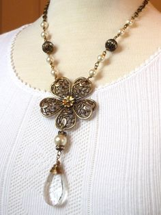 Vintage Repurposed Necklace Jewelry Goldtone Flower Brooch Glass Pearl Chandelier Crystal Rhinestone. $68.00, via Etsy.