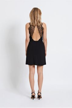 Samsoe & Samsoe Willow short Dress with open back and lace in black. Available to buy at Renate