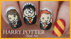 Harry Potter nail art! Featuring Hermione, Harry and Ron, the Gryffindor scarf and Harry Potter logo. I've been waiting soooo impatiently to upload this vide...