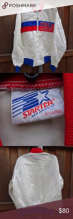 Vintage Starter USA Satin Jacket Vintage Starter USA Satin Jacket  -white / cream white , 80s jacket shiny look very lightweight more like a windbreaker  , pockets and front U.S.A. spellout & zipper pull tab and wrist with starter logos -Used / Pre own , has small stains on sleeve and back but can't tell till you look closely nothing that affects the jacket , Great Jacket for a collector -size XL fit like Large STARTER Sweaters Crewneck