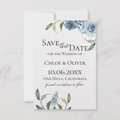 Dusty Blue Botanical Save The Date Announcement Dusty blue watercolor flowers with garden botanical foliage, Wedding Save the Date Card. Customize these invitations / products for your weddings. Blue Save The Dates, Wedding Save The Dates, Save The Date Cards, Winter Wedding Invitations, Wedding Invitation Cards, Wedding Thank You Cards, Invites, Wedding Stationery, Party Invitations