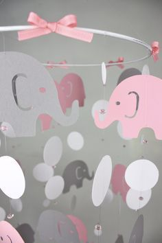Elephant Baby Mobile – Pink Gray Baby Crib Mobile – Girl Nursery Mobile – Elephant Parade Whimsy – CHOOSE colors on Etsy, $55.00   best stuff