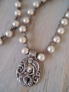 Pearl Mermaid crochet necklace Mermaid Wisdom by slashKnots, $48.00
