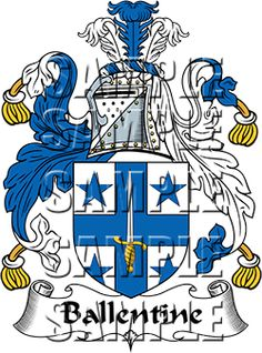 Ballentine Family Crest apparel, Ballentine Coat of Arms gifts