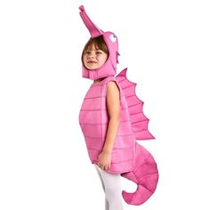 This adorable pink seahorse costume is made of quality foam construction with a separate headpiece. The unique design and fun color choice make this perfect for your little one on Halloween. Sea Creature Costume, Sea Costume, Fish Costume, Turtle Costumes, Horse Costumes, Animal Costumes, Toddler Costumes, Baby Halloween Costumes, Cool Costumes