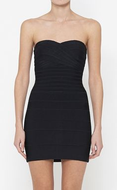 Herve Leger Black Dress | add a cute bold necklace and some bracelets also don't forget those cute shoes and the accessory that will put everything together, that cute clutch.