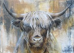 Highland Cow Painting, Highland Cow Art, Highland Cow Canvas, Flow Painting, Oil Painting Abstract, Animal Paintings, Animal Drawings, Cute Baby Cow, Sunflower Canvas