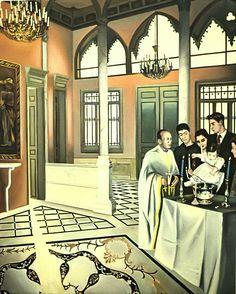 NADA ACKEL. LE BAPTÊME CHEZ MAURICE, 1992. Huile sur toile (oil on canvas), 130x162 cm.