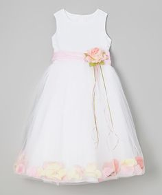 Look what I found on #zulily! White & Pink Floral A-Line Dress - Toddler & Girls by Kid's Dream #zulilyfinds