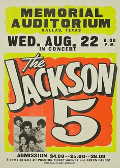 A poster advertising a concert by pop band the Jackson 5 at the Dallas, Texas Memorial Auditorium, United States, 1970, made by the Global Poster Printing Corporation.