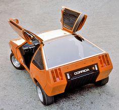 """carsthatnevermadeitetc: """"Ghia Ford Corrida 1976 un altro concetto Ghia per un coupé Ford, questo in base alla Fiesta, con porte ad ali di gabbiano pieghevole"""""""