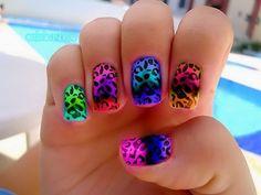 rainbow leopard nails