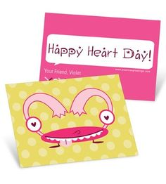 Valentine's Day Cards for Kids -- Monster Heart in Pink