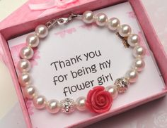 A beautiful and delicate bracelet that your flower girls or bridesmaids will treasure for a lifetime! Beautifully gift boxed and wrapped in