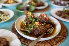 This glossy, savory stew combines two staples of traditional Middle Eastern cooking: rich lamb and tangy, sweet-sour pomegranate. It makes a vivid main course, with each meaty shank garnished with bright pomegranate seeds — perfect for a festive dinner such as Eid al-Fitr, the feast day on the Muslim calendar that marks the end of daily fasting for Ramadan. (Photo: Jenn Ackerman for The New York Times)