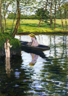 Otto Modersohn - Summer Landscape with Girl and Boat
