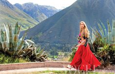 Tiiu Kuik models for Michael Filonow in Peru for Vogue.