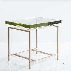 "Frazier Side Table. Hand poured, 1 3/8"" thick Borosilicate glass. © Khouri Guzman Bunce Limited."