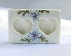 Miniature Porcelain Frame Double Heart Frame by Donellensvintage