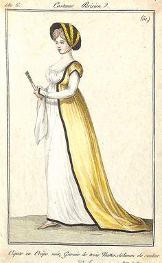 Costume Parisien an 6 - n° 51 - Capote en Crêpe noir, Garnie de trois Nattes. doliman de couleur - MAS Estampes Anciennes - Antique Prints since 1898