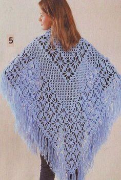 Crochet Xailes, Wraps - diagramas e descrições para iniciantes