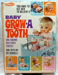 """Vintage 1968 Remco """"Baby Grow A Tooth"""" Doll. I still have the doll.  She's not in the best shape. I loved her as a kid. Slept with her every night."""
