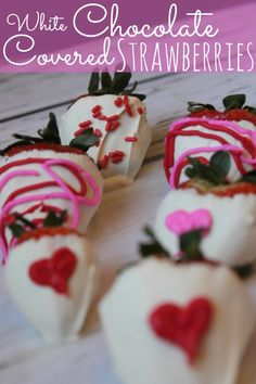 Here is a fun and yummy Valentine's Day recipe for White Chocolate Covered Strawberries! Enjoy! #vaelentinesday