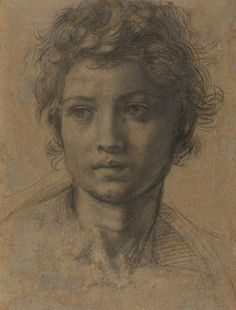 Some of Andrea Del Sarto's works on display at the Frick Collection include a study of the head of a young woman in red chalk, at left; head of St. John the Baptist in black chalk, top; and portrait of young John the Baptist in oil on panel. Renaissance Kunst, High Renaissance, Renaissance Artists, Life Drawing, Figure Drawing, Painting & Drawing, Giacometti, Photographie Portrait Inspiration, Getty Museum