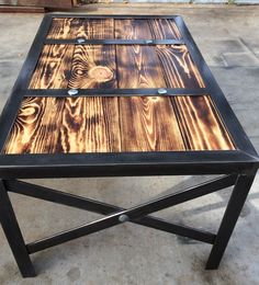Wood coffee table Industrial style table by RusticSantaFe on Etsy Welded Furniture, Wooden Pallet Furniture, Steel Furniture, Retro Furniture, Colorful Furniture, Industrial Furniture, Furniture Projects, Rustic Furniture, Industrial Style