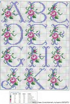 So pretty ~ cross stitch monogram alphabet with roses. - - So pretty ~ cross stitch monogram alphabet with roses. Cross Stitch Alphabet Patterns, Cross Stitch Letters, Cross Stitch Rose, Cross Stitch Borders, Cross Stitch Flowers, Cross Stitch Charts, Cross Stitch Designs, Cross Stitching, Cross Stitch Embroidery