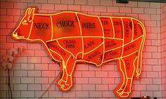 The afterhours butcher Restaurant Concept, Restaurant Design, Menu Design, Sign Design, Le Ranch, Meat Store, Meat Markets, Butcher Shop, Neon Lighting