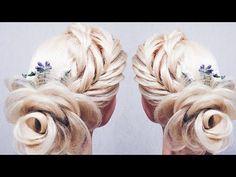 ПРИЧЕСКА без плойки!  ♡ РОЗА ИЗ ВОЛОС ♡ Flower Braid Hair Tutorial ♡ LOZNITSA - YouTube