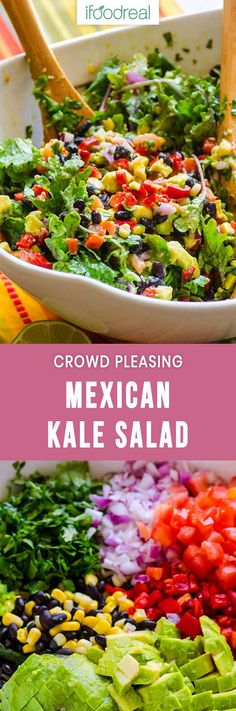 Creamy Mexican Kale Salad Recipe made with black beans, corn, peppers, tomato, cilantro and tossed with a tangy cumin flavoured avocado dressing. vegan salad