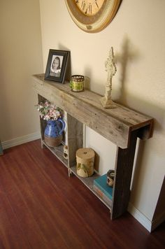 Skinny entry table. not this rustic, but this thin