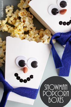 These DIY popcorn box snowmen are perfect for a winter themed party or making with the kids when you are snowed in for the day!